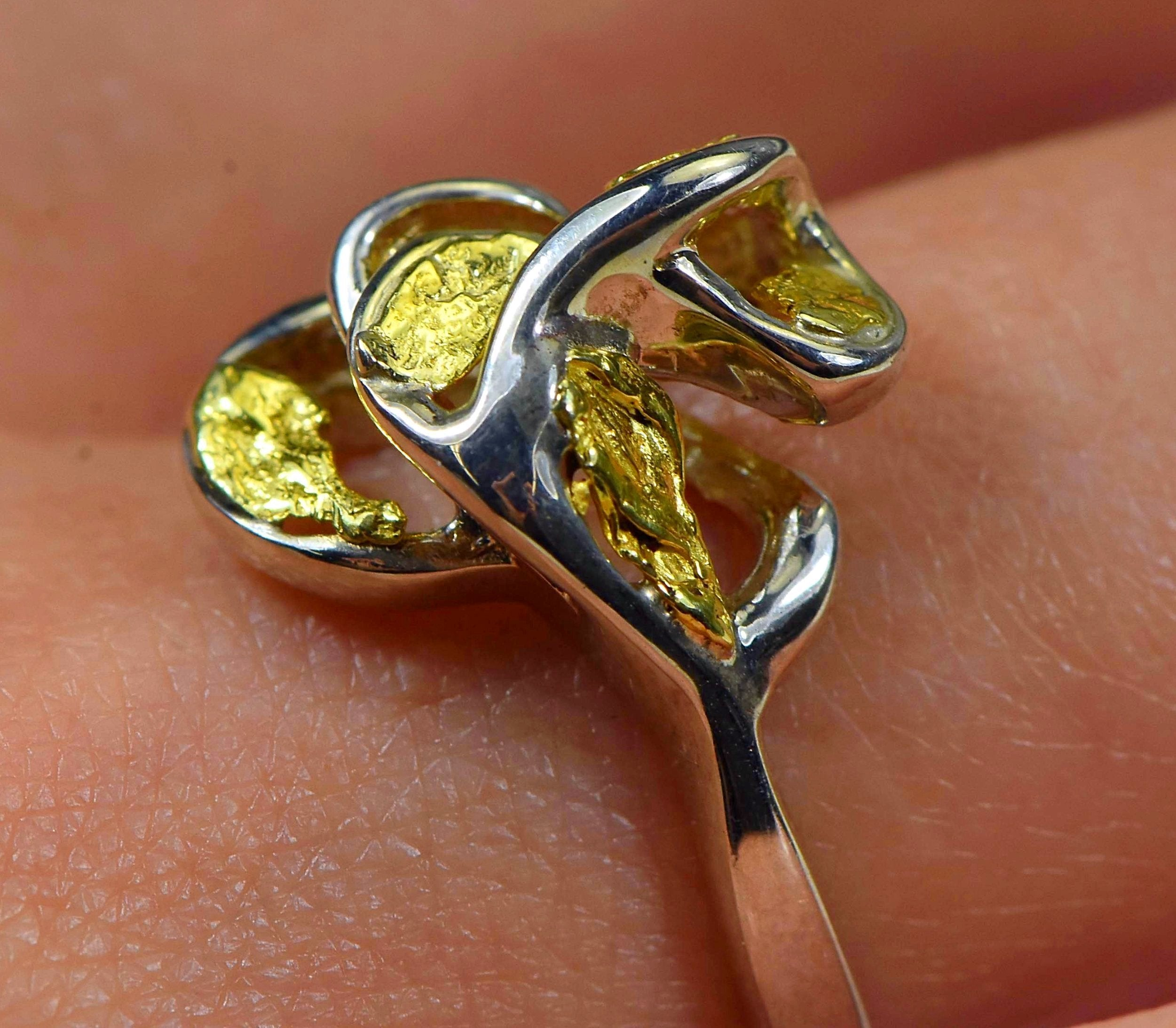"Gold Nugget Ladies Ring ""Orocal"" RL169SS Genuine Hand Crafted Jewelry"