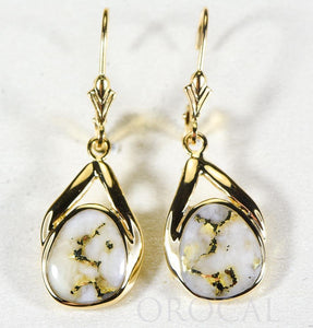 "Gold Quartz Earrings ""Orocal"" EN782Q/LB Genuine Hand Crafted Jewelry - 14K Gold Casting"