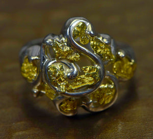 "Gold Nugget Ladies Ring ""Orocal"" RL462SS Genuine Hand Crafted Jewelry-14K"