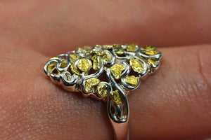 "Gold Nugget Ladies Ring ""Orocal"" RL239SS Genuine Hand Crafted Jewelry"