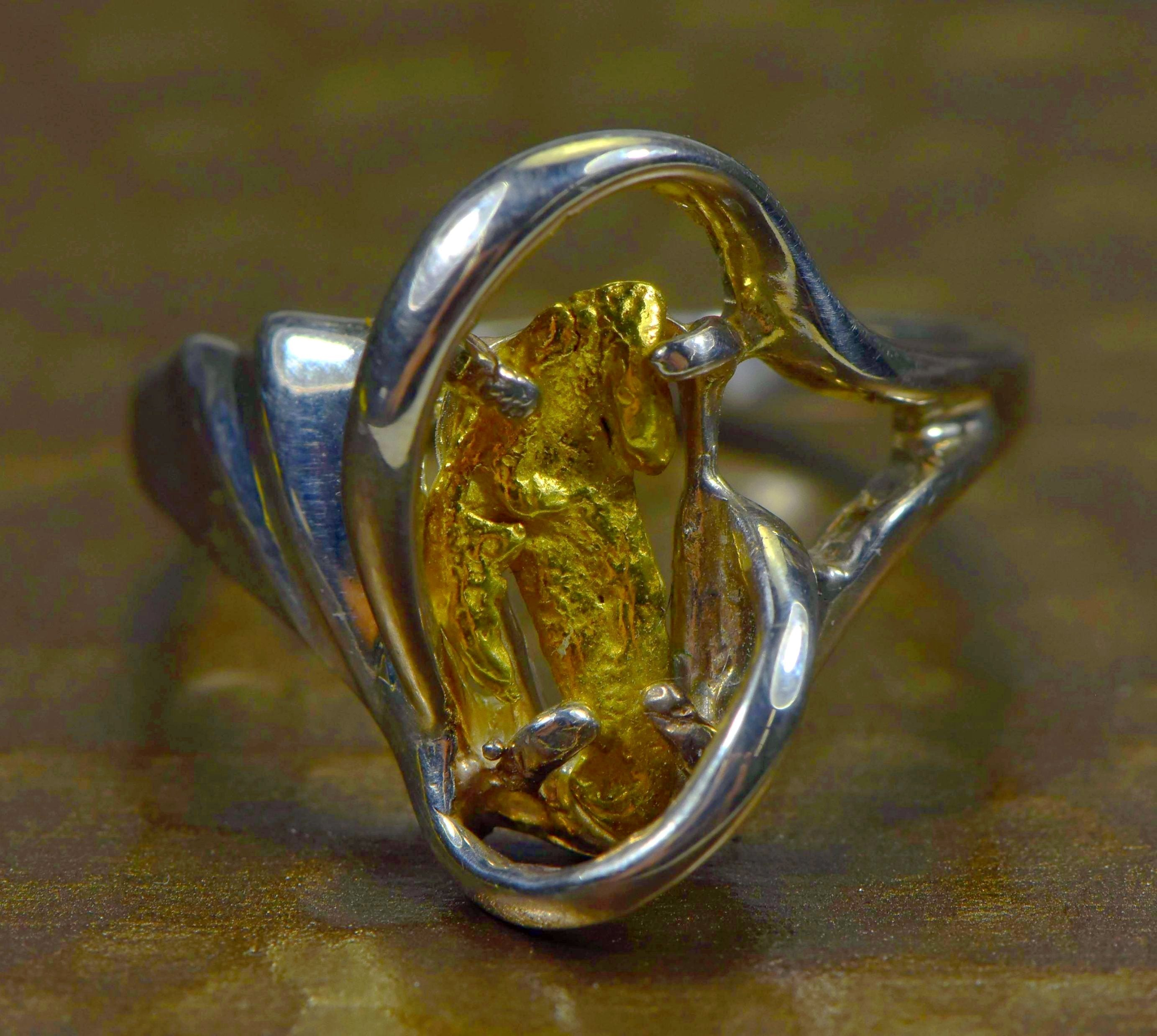 "Gold Nugget Ladies Ring ""Orocal"" RL784NSS Genuine Hand Crafted Jewelry"