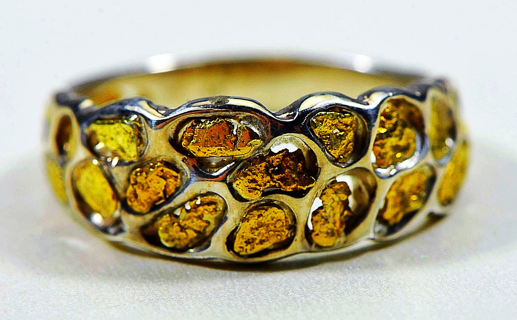 "Gold Nugget Men's Ring ""Orocal"" RM210NSS Genuine Hand Crafted Jewelry-14K"