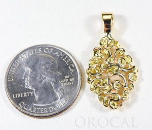 "Gold Nugget Pendant ""Orocal"" PN239X Genuine Hand Crafted Jewelry - 14K Gold Yellow Gold Casting"