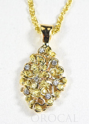 "Gold Nugget Pendant ""Orocal"" PN239D14X Genuine Hand Crafted Jewelry - 14K Gold Yellow Gold Casting"