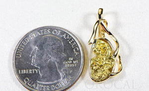 "Gold Nugget Pendant ""Orocal"" PN866NX Genuine Hand Crafted Jewelry - 14K Gold Yellow Gold Casting"