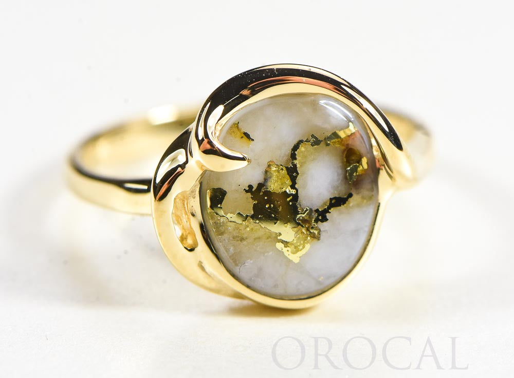 "Gold Quartz Ladies Ring ""Orocal"" RL1048Q Genuine Hand Crafted Jewelry - 14K Gold Casting"