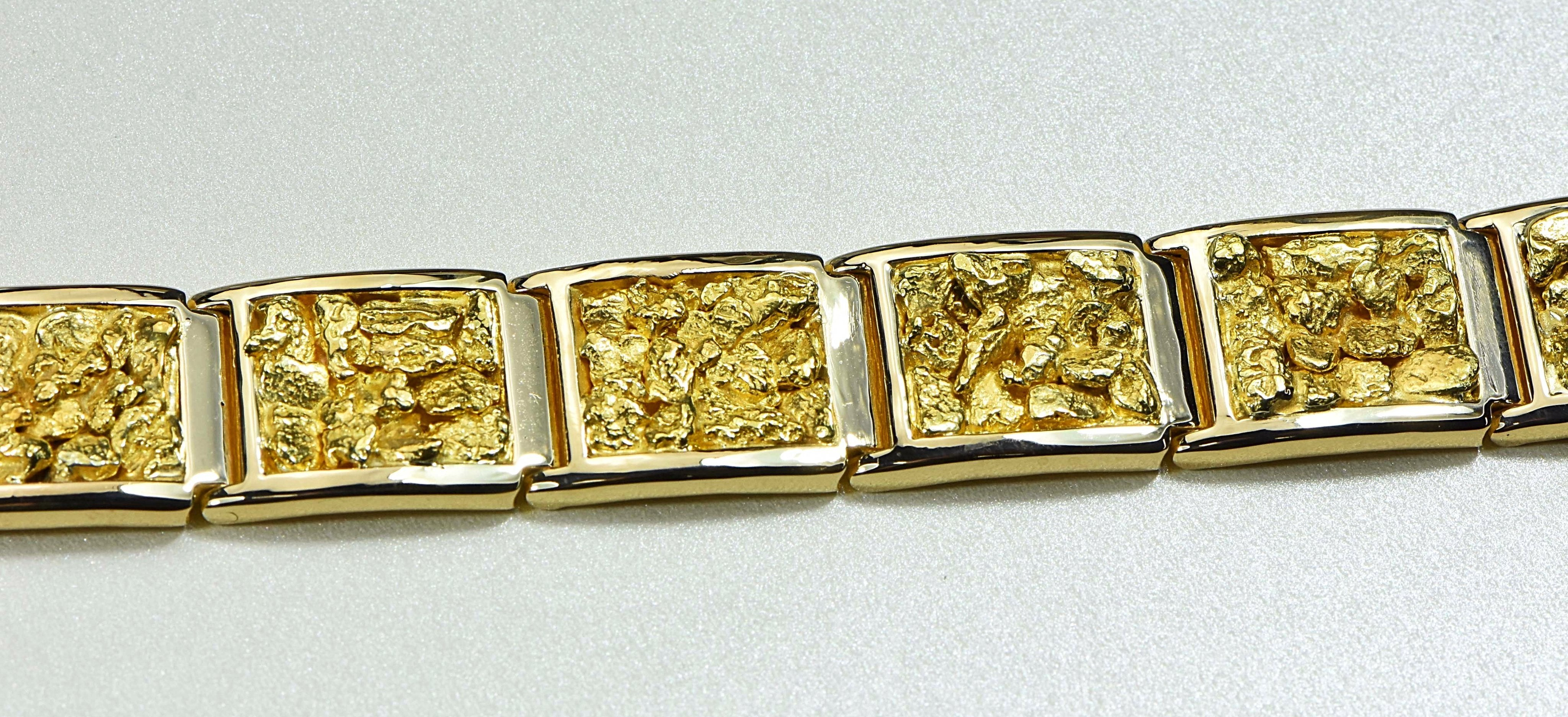 "Gold Nugget Bracelet ""Orocal"" B16MM Genuine Hand Crafted Jewelry - 14K Gold Casting"