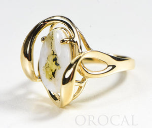 "Gold Quartz Ladies Ring ""Orocal"" RL1028Q Genuine Hand Crafted Jewelry - 14K Gold Casting"