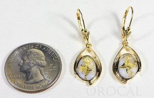 "Gold Quartz Earrings ""Orocal"" EN1117Q/LB Genuine Hand Crafted Jewelry - 14K Gold Casting"