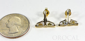 "Gold Quartz Whale Tail Earrings ""Orocal"" EDLWT8SQ Genuine Hand Crafted Jewelry - 14K Gold Casting"