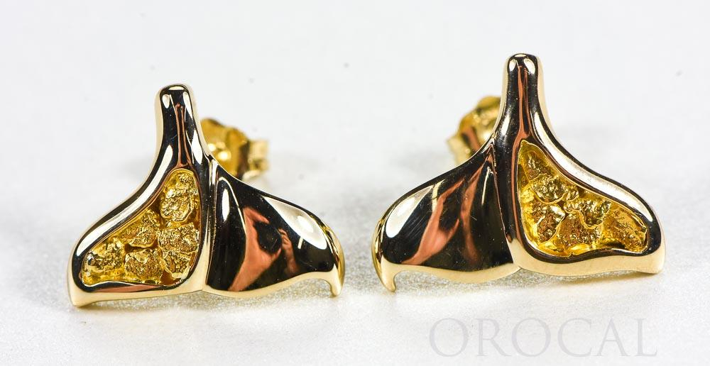 "Gold Nugget Whale Tail Earrings ""Orocal"" EDLWT12 Genuine Hand Crafted Jewelry - 14K Gold Casting"