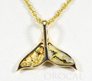 "Gold Quartz Pendant Whales Tail ""Orocal"" PWT41NQ Genuine Hand Crafted Jewelry - 14K Gold Yellow Gold Casting"