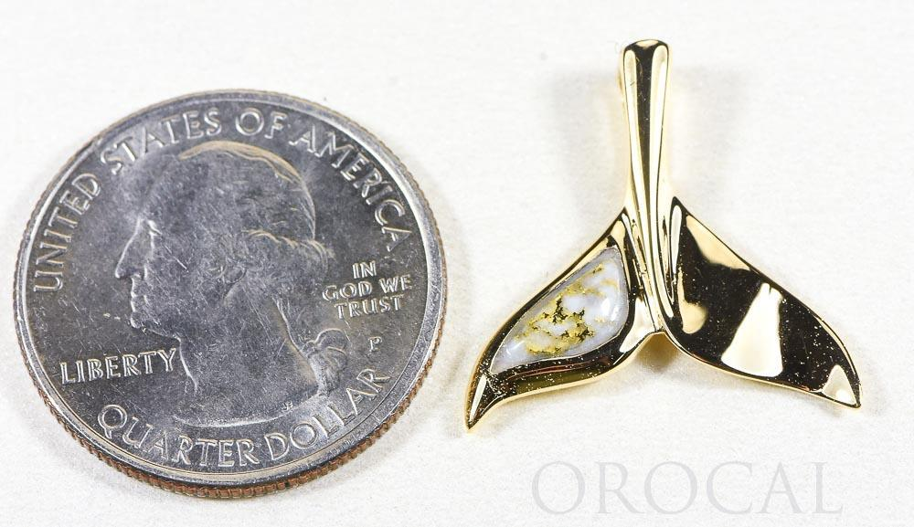 "Gold Quartz Pendant Whales Tail ""Orocal"" PWT43LQ Genuine Hand Crafted Jewelry - 14K Gold Yellow Gold Casting"