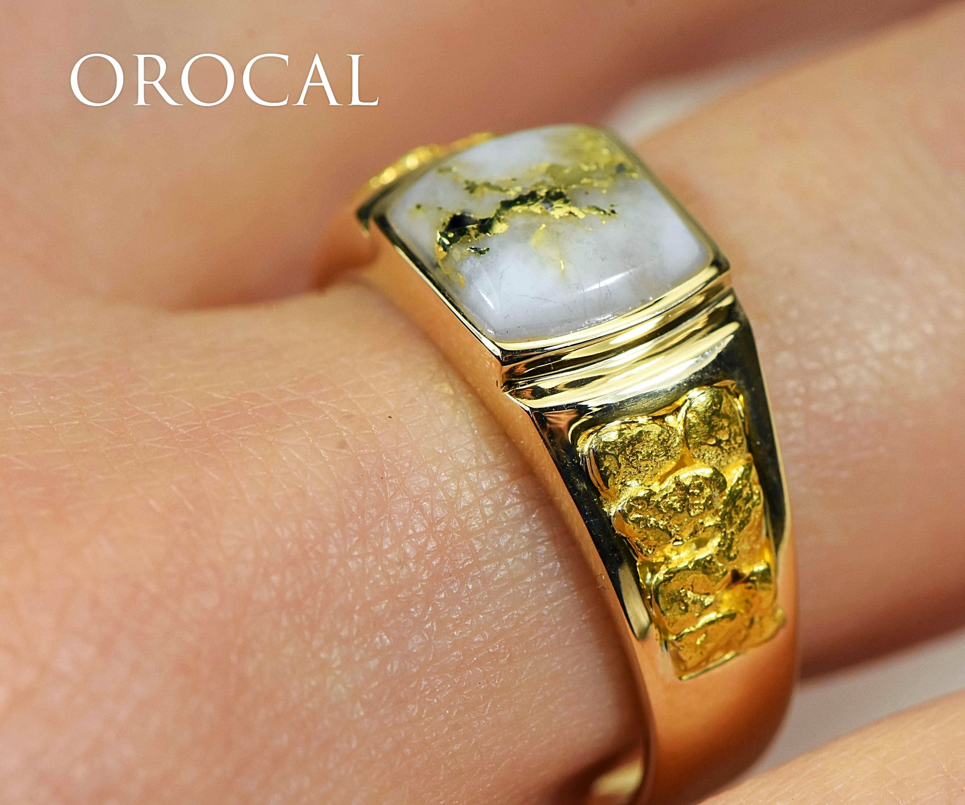 "Gold Quartz Ring ""Orocal"" RLL1075NQ Genuine Hand Crafted Jewelry - 14K Gold Casting"