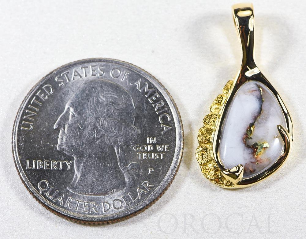 "Gold Quartz Pendant  ""Orocal"" PSC125Q Genuine Hand Crafted Jewelry - 14K Gold Yellow Gold Casting"