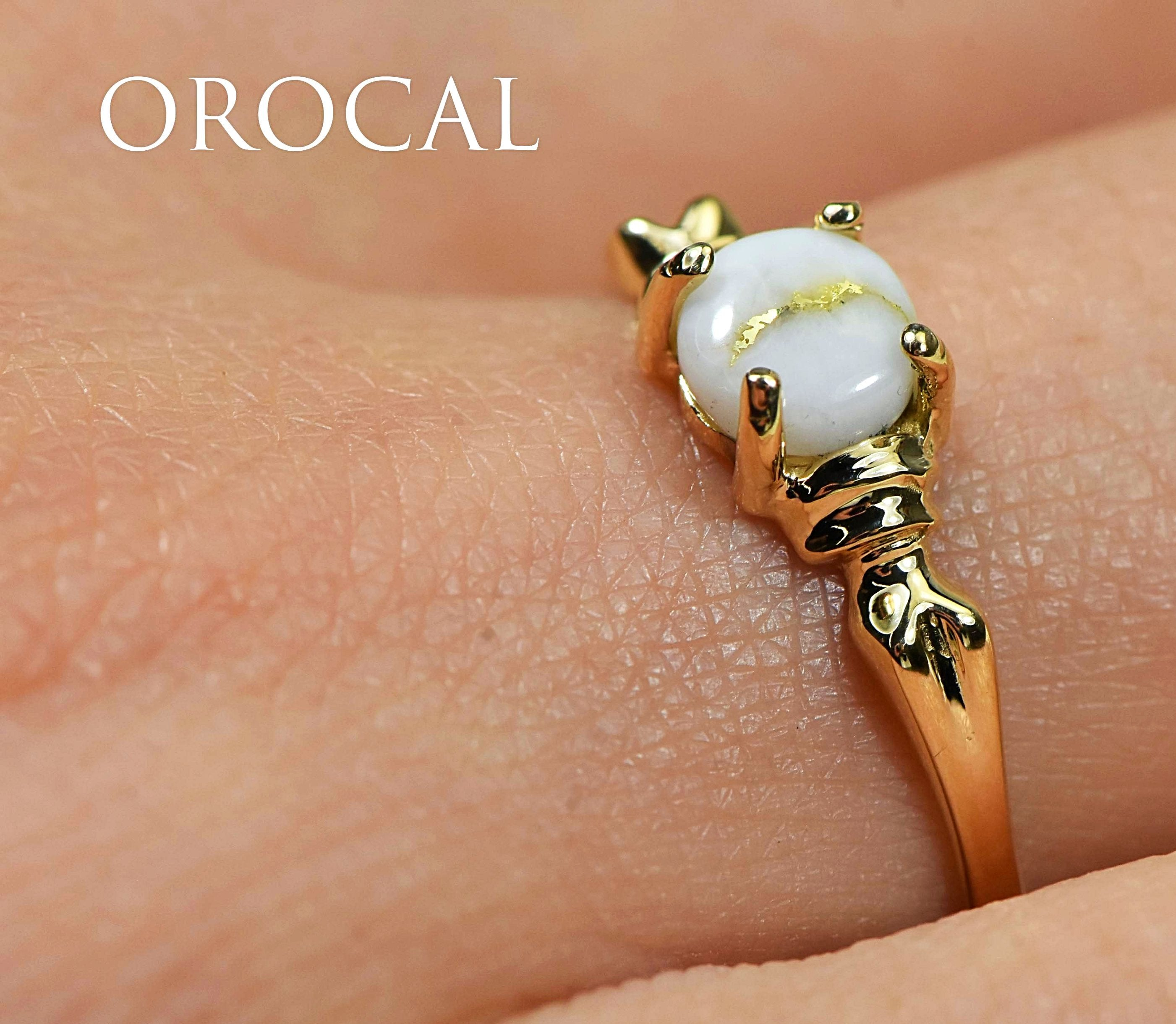 "Gold Quartz Ring ""Orocal"" RL681Q5MM Genuine Hand Crafted Jewelry - 14K Gold Casting"