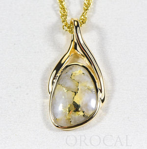 "Gold Quartz Pendant  ""Orocal"" PSC129Q Genuine Hand Crafted Jewelry - 14K Gold Yellow Gold Casting"