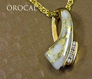 "Gold Quartz Pendant ""Orocal"" PDL49D10QX Genuine Hand Crafted Jewelry - 14K Gold Yellow Gold Casting"