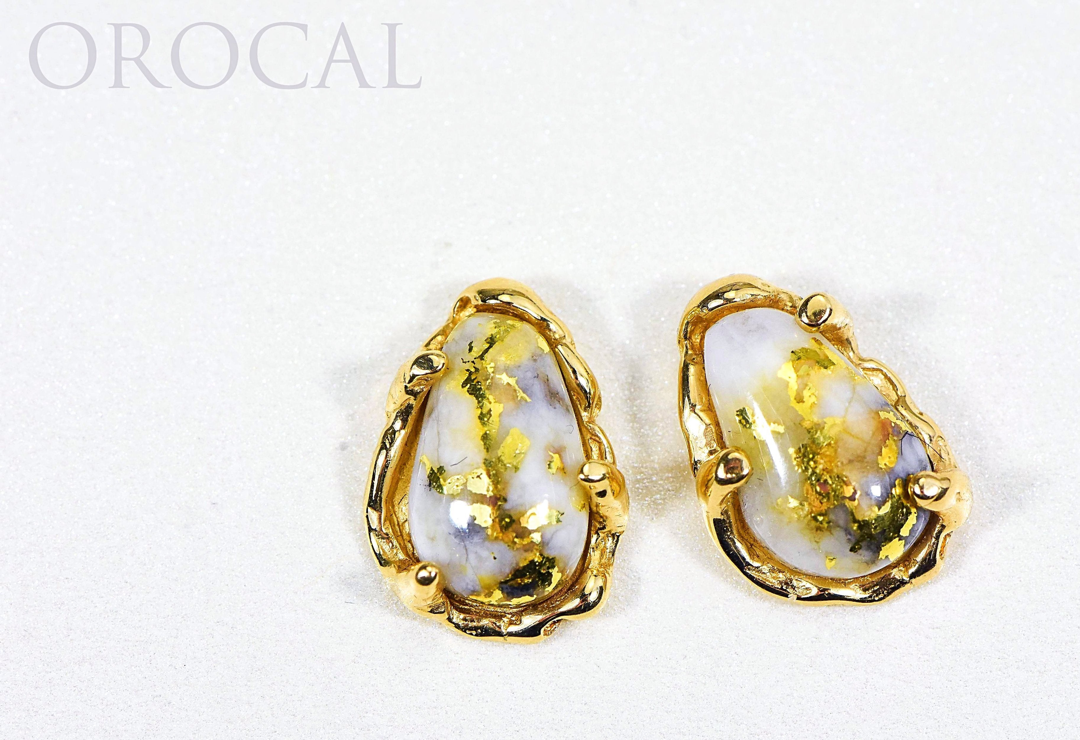 "Gold Quartz Earrings ""Orocal"" EFFQ4 Genuine Hand Crafted Jewelry - 14K Gold Casting"