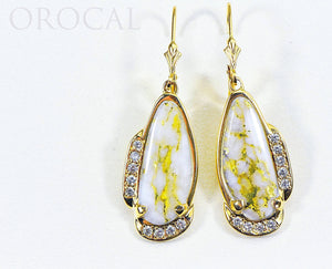 "Gold Quartz Earrings ""Orocal"" EN1106SDQ/LB Genuine Hand Crafted Jewelry - 14K Gold Casting"
