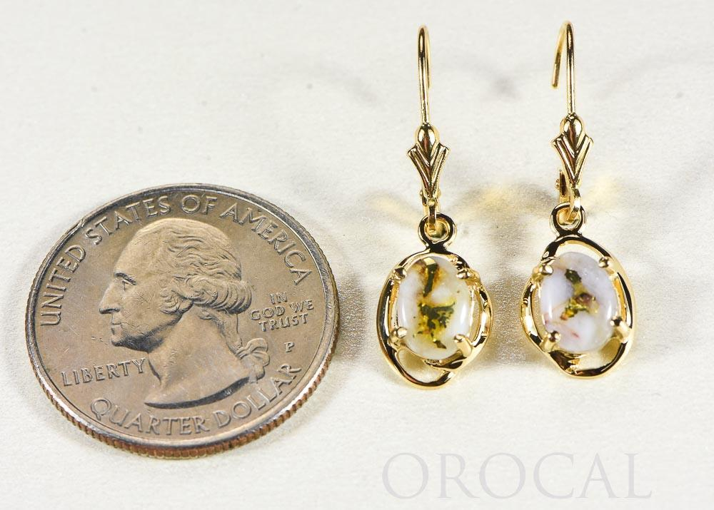 "Gold Quartz Earrings ""Orocal"" EN805XSQ/LB Genuine Hand Crafted Jewelry - 14K Gold Casting"