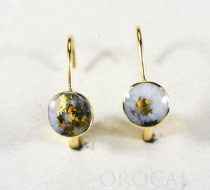 "Gold Quartz Earrings ""Orocal"" ELBBZ6MMQ Genuine Hand Crafted Jewelry - 14K Gold Casting"