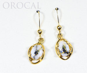 "Gold Quartz Earrings ""Orocal"" EN805XSQ/WD Genuine Hand Crafted Jewelry - 14K Gold Casting"