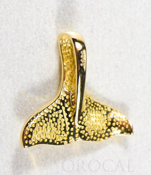 "Gold Quartz Pendant Whales Tail ""Orocal"" PDLWT112NQ Genuine Hand Crafted Jewelry - 14K Gold Yellow Gold Casting"