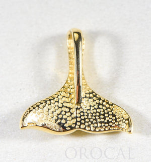 "Gold Quartz Pendant Whales Tail ""Orocal"" PDLWT113Q Genuine Hand Crafted Jewelry - 14K Gold Yellow Gold Casting"