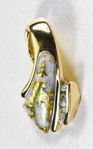"Gold Quartz Pendant ""Orocal"" PDL4SD10QX Genuine Hand Crafted Jewelry - 14K Gold Yellow Gold Casting"