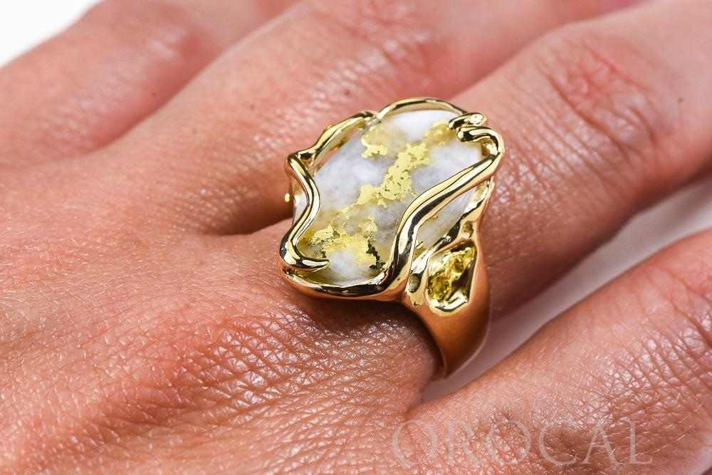 "Gold Quartz Ring ""Orocal"" RL232XLQ Genuine Hand Crafted Jewelry - 14K Gold Casting"