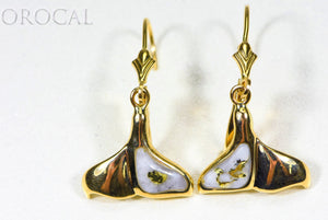 "Gold Quartz Earrings ""Orocal"" EDL12WT12Q/LB Genuine Hand Crafted Jewelry - 14K Gold Casting"