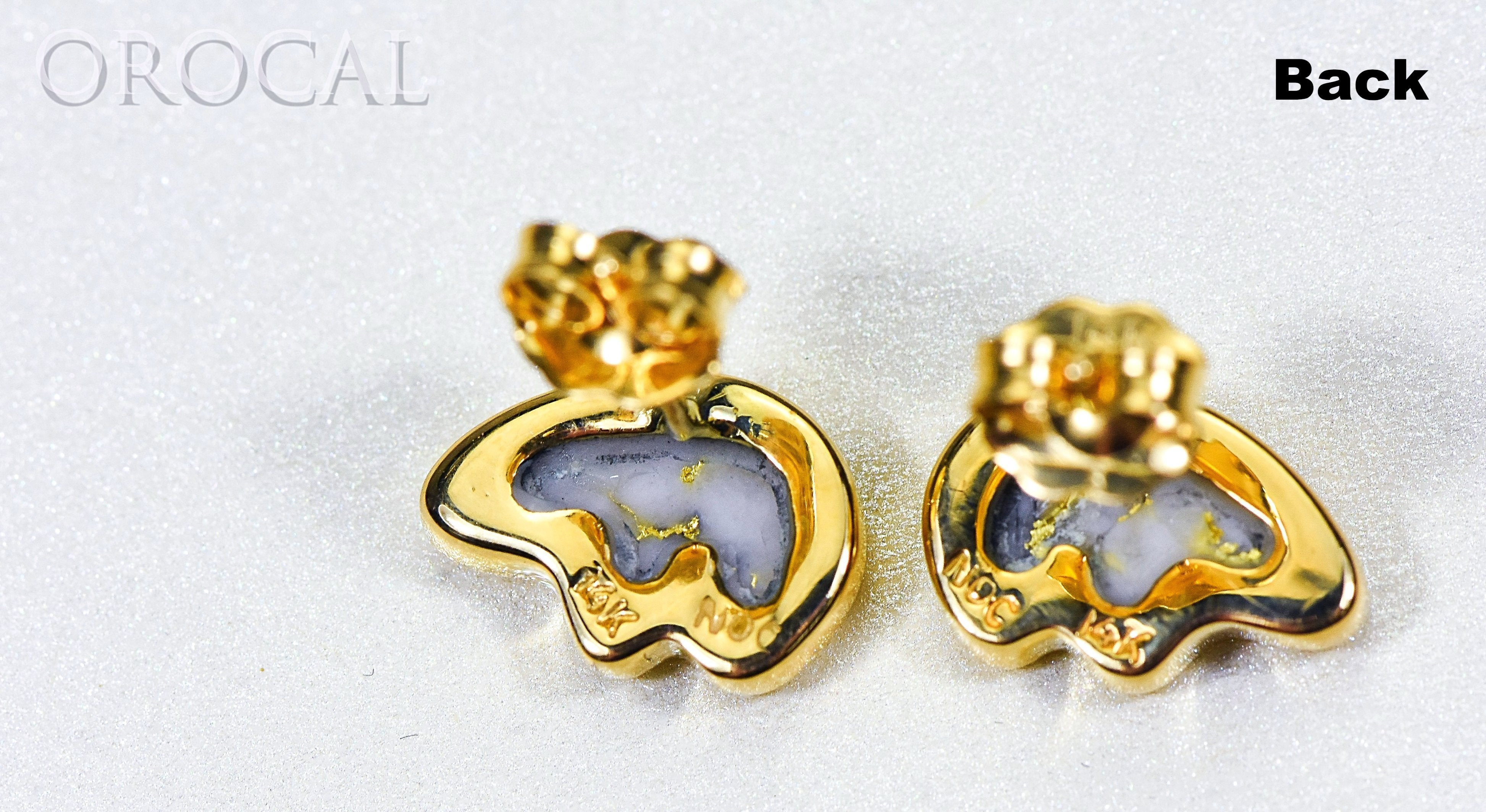 "Gold Quartz Earrings ""Orocal"" EBR1SHQ Genuine Hand Crafted Jewelry - 14K Gold Casting"