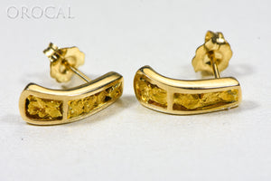 "Gold Nugget Earrings ""Orocal"" EH41N Genuine Hand Crafted Jewelry - 14K Gold Casting"