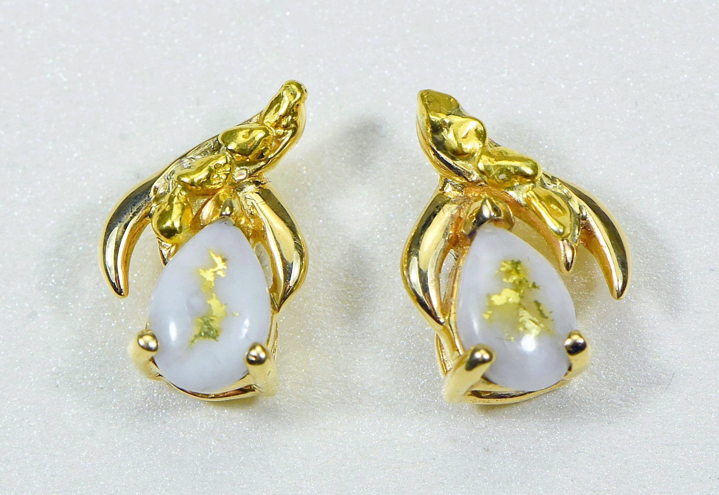 "Gold Quartz Earrings ""Orocal"" EN792SNQ Genuine Hand Crafted Jewelry - 14K Gold Casting"