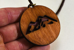 "Laser Engraved Necklace ""Mountain Scene""  Birch Wood w/ 30 in. Leather Strap"