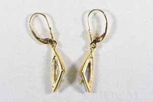 "Gold Quartz Earrings ""Orocal"" EDL25Q/LB Genuine Hand Crafted Jewelry - 14K Gold Casting"