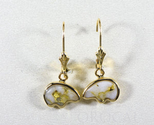 "Gold Quartz Earrings ""Orocal"" EBR1SHQ/LB Genuine Hand Crafted Jewelry - 14K Gold Casting"