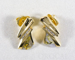 "Gold Quartz Earrings ""Orocal"" EDL74D16Q Genuine Hand Crafted Jewelry - 14K Gold Casting"