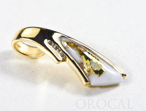 "Gold Quartz Pendant  ""Orocal"" PDL129D045QX Genuine Hand Crafted Jewelry - 14K Gold Yellow Gold Casting"