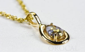 "Gold Quartz Pendant  ""Orocal"" PN442MQ Genuine Hand Crafted Jewelry - 14K Gold Yellow Gold Casting"