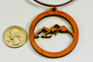 "Laser Engraved Necklace ""Mountain Scene""  w/ Natural Gold Nuggets"