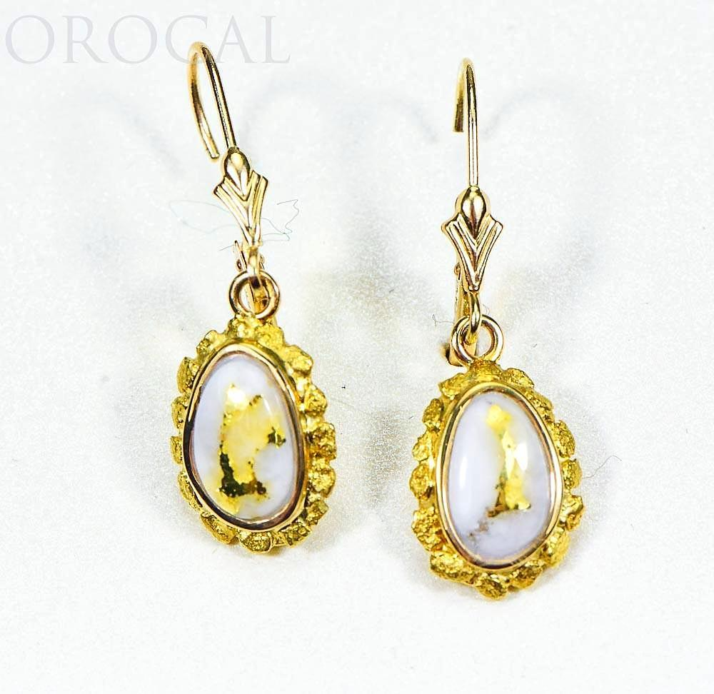 "Gold Quartz Earrings ""Orocal"" EN708NQ/LB Genuine Hand Crafted Jewelry - 14K Gold Casting"