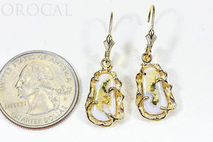 "Gold Quartz Earrings ""Orocal"" EFFQ5/LB Genuine Hand Crafted Jewelry - 14K Gold Casting"