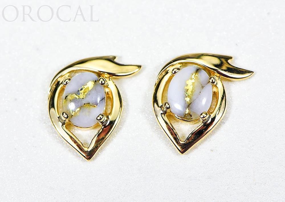"Gold Quartz Earrings ""Orocal"" EJ36Q Genuine Hand Crafted Jewelry - 14K Gold Casting"
