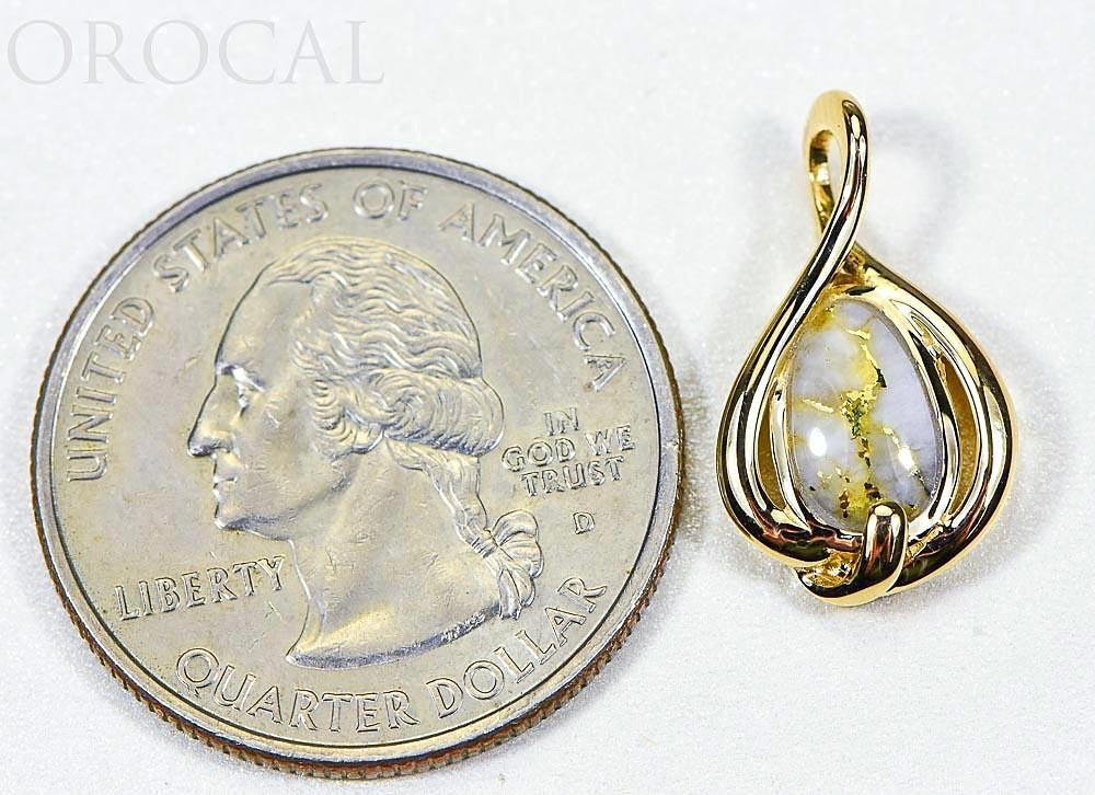 "Gold Quartz Pendant ""Orocal"" PN825QX Genuine Hand Crafted Jewelry - 14K Gold Yellow Gold Casting"