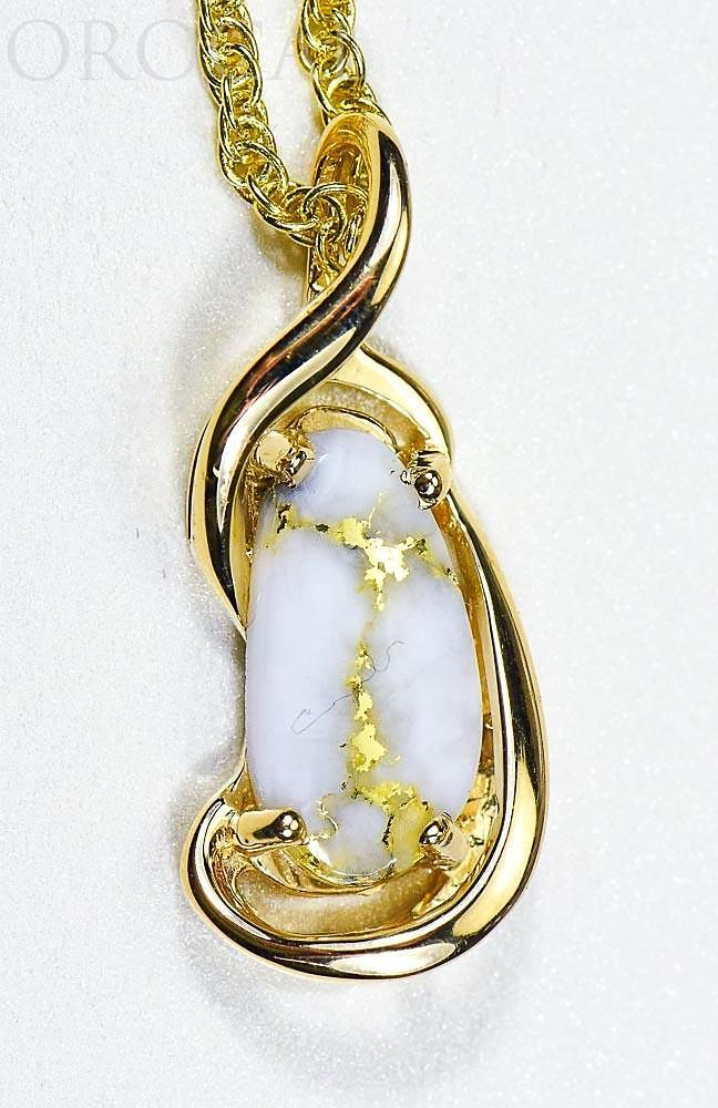 "Gold Quartz Pendant ""Orocal"" PN784LQX Genuine Hand Crafted Jewelry - 14K Gold Yellow Gold Casting"