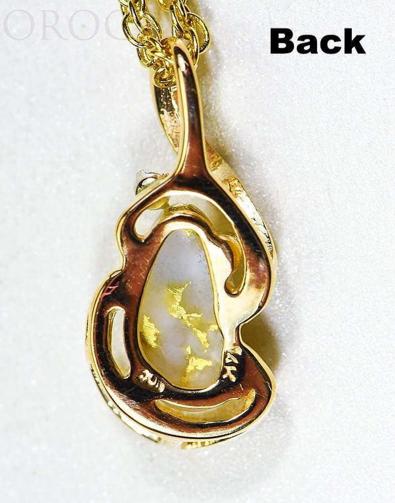 "Gold Quartz Pendant ""Orocal"" PN784SDQX Genuine Hand Crafted Jewelry - 14K Gold Yellow Gold Casting"