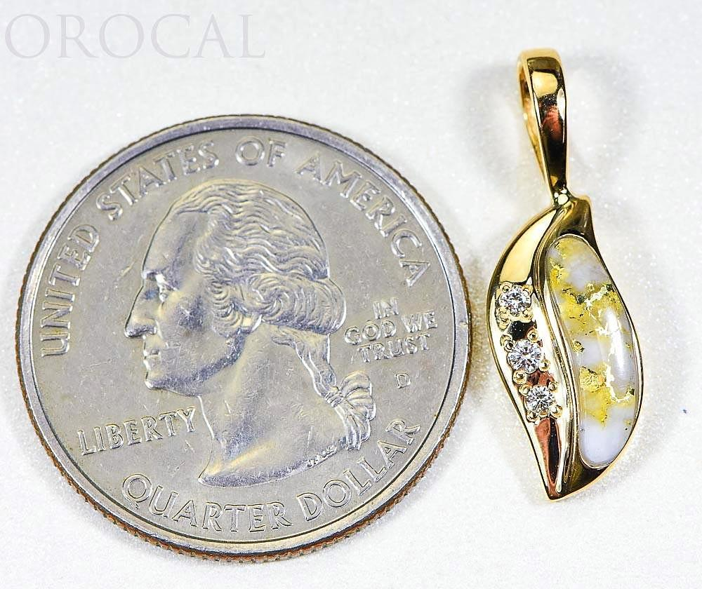 "Gold Quartz Pendant ""Orocal"" PN806DQX Genuine Hand Crafted Jewelry - 14K Gold Yellow Gold Casting"
