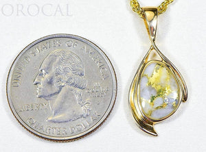 "Gold Quartz Pendant ""Orocal"" PN1117Q Genuine Hand Crafted Jewelry - 14K Gold Yellow Gold Casting"